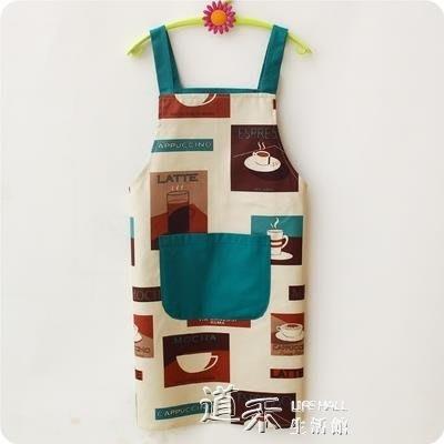 清新純棉布藝無袖圍裙男女時尚做飯圍腰廚房防油污工作服圍裙 良品世佳