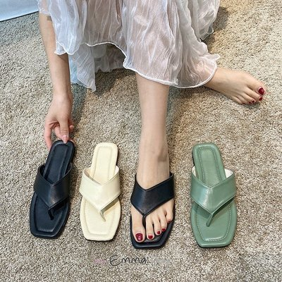 EmmaShop艾購物-韓國同步上新寬版夾腳涼鞋/拖鞋/大尺寸到42號/平底