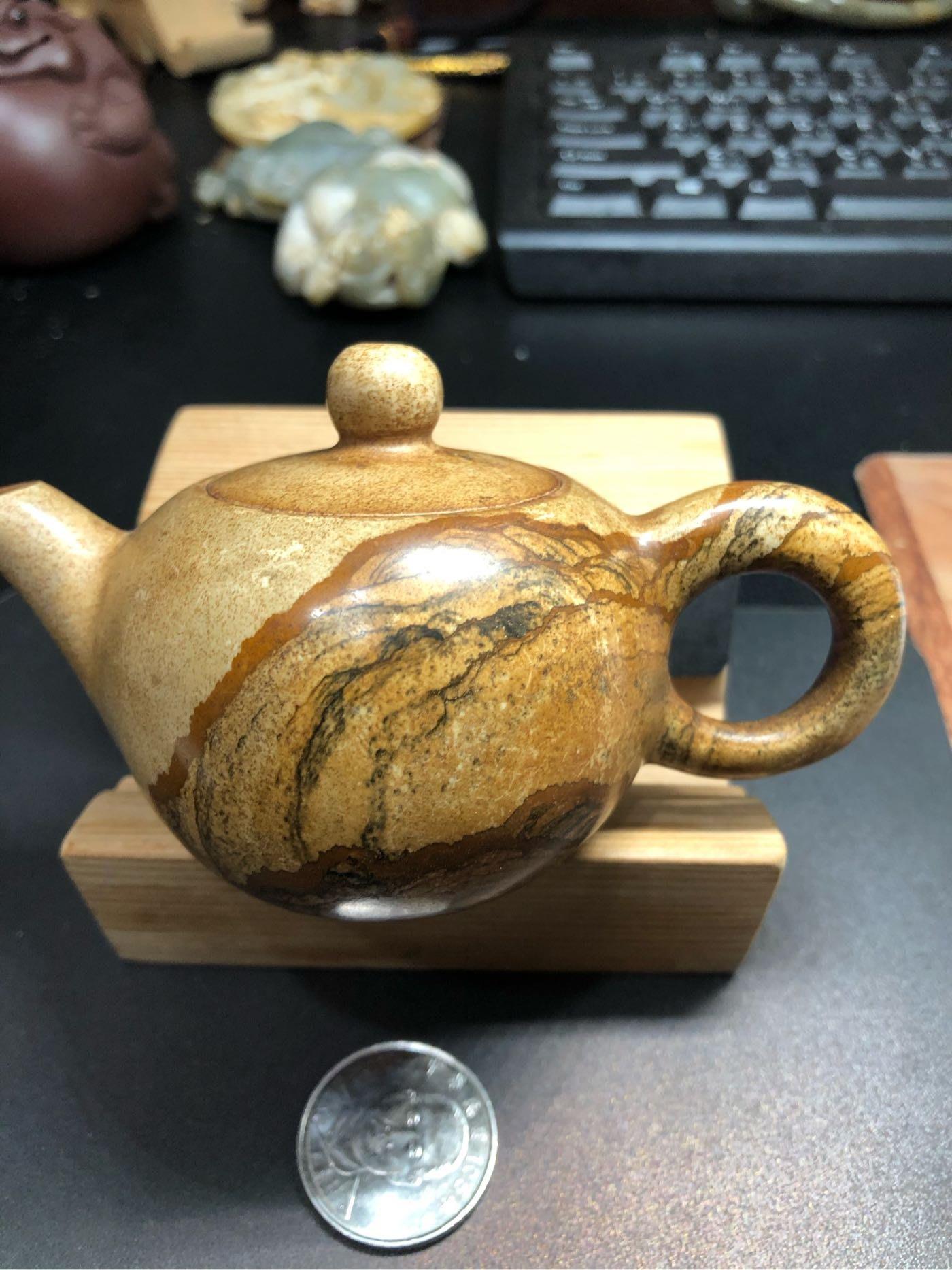 國畫山水石壺