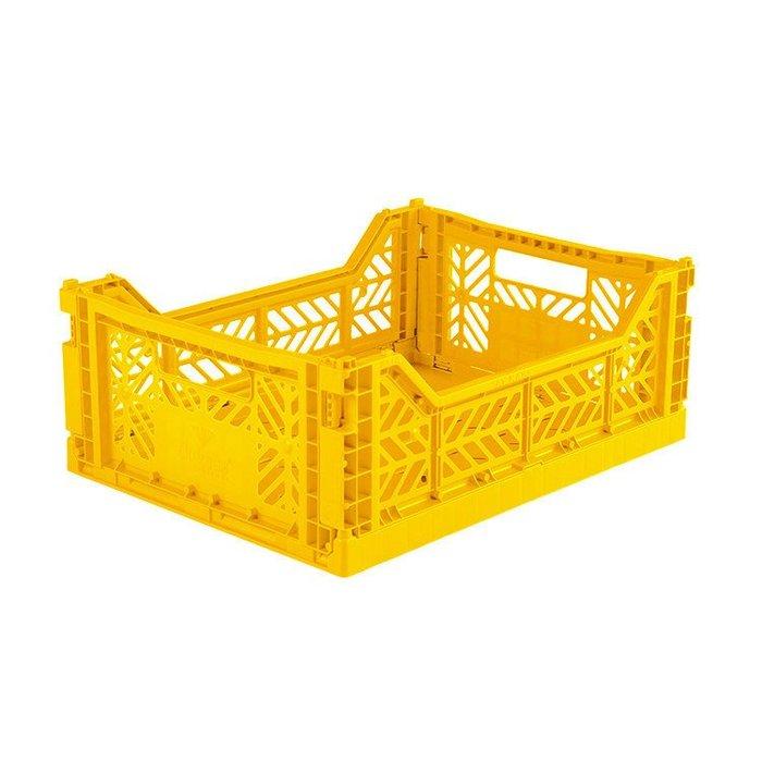 WaShiDa【4314】6-23 AY KASA MIDIBOX 土耳其製 折疊 收納籃 中型 - 鮮黃色 現貨