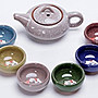 茶具套裝 鯉魚冰裂茶具 茶具套裝 冰裂茶具組 杯裡有鯉魚 立體的 6色杯 全新 送禮自用 紫砂功夫整套 七彩冰裂釉茶壺組