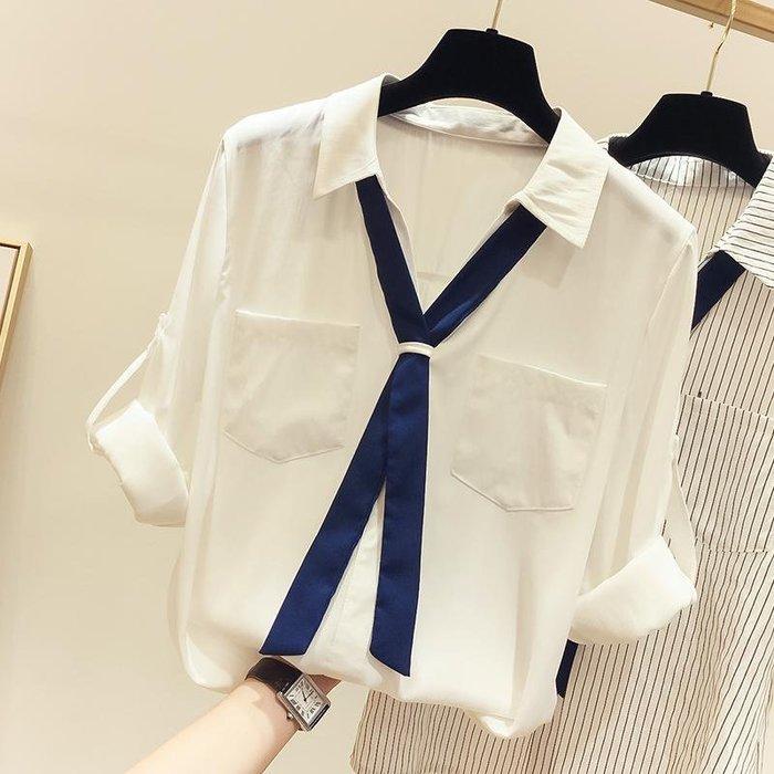 【An Ju Shop】韓國風 OL西裝V領帶襯衫學生設計感減齡上衣~OI283511