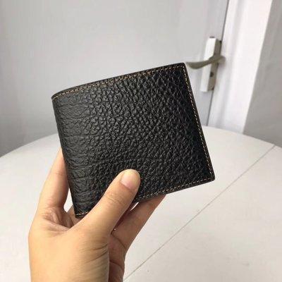 美國名品折扣店~ 特賣 COACH 87188 新款黑色荔枝紋男士對折短款錢包 短夾 男夾 證件夾