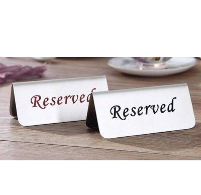 餐廳預約席桌牌立牌 訂位牌 Reserved雙面立牌 禁止吸煙桌牌告示牌 桌上立牌 已訂位牌 餐廳必備訂位桌牌 開店賀禮