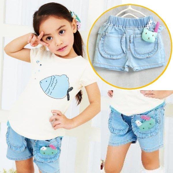 【班比納精品童裝】腰花邊牛仔短褲-藍