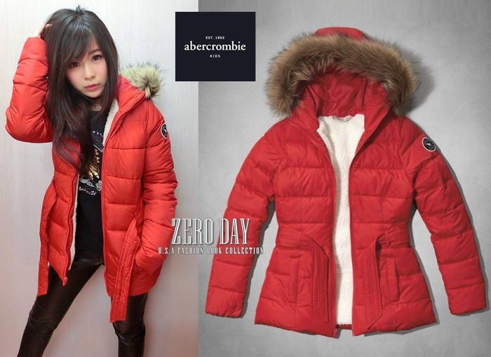 a&f abercrombie&fitch kids girl sherpa lined parka熊寶寶毛長版外套-紅