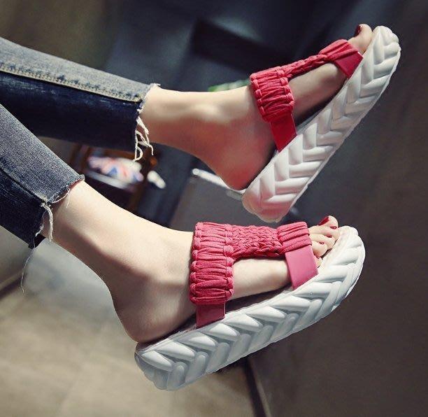 松糕厚底拖鞋 新款時尚半拖壹字涼拖  舒適拖鞋 —莎芭