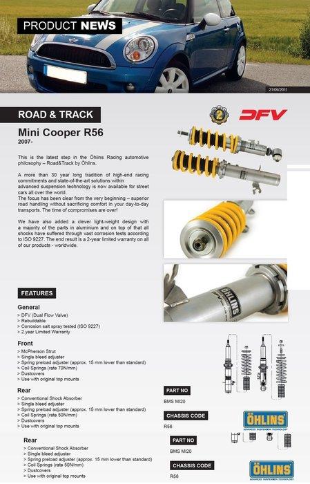 Mini R56 Cooper S 2007+ 專用 瑞典 Ohlins Road & Track 避震器