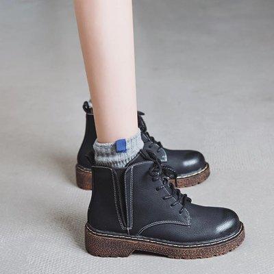 馬丁靴女短靴復古英倫學院風靴子百搭學生平底繫帶女鞋 小艾時尚 全館免運 全館免運