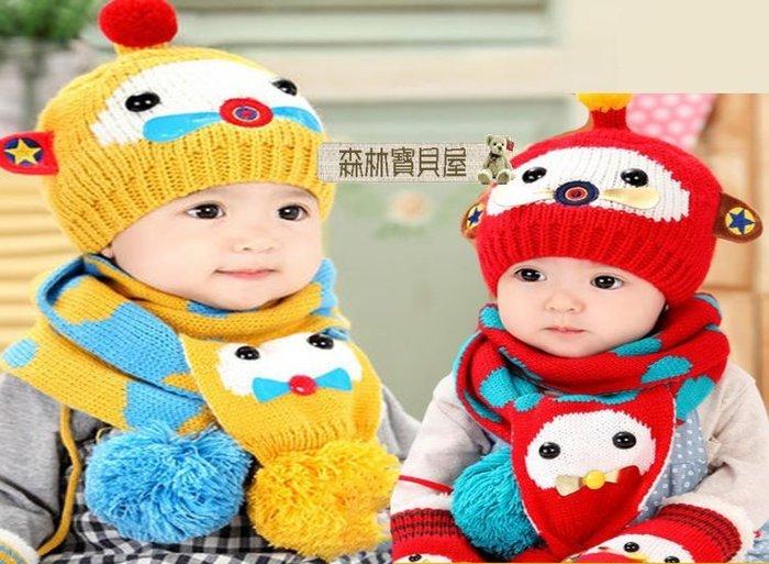 森林寶貝屋~韓款~寶寶小飛機兒童護耳套帽~(帽子+圍巾)~幼兒加厚造型帽~嬰兒戶外護耳帽保暖童帽~外出必備~6色發售