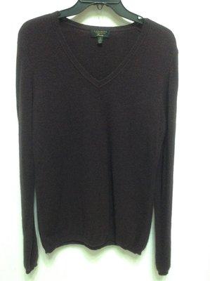 美國品牌 charter club 深紫色V領素面100% 喀什米爾 cashmere 長袖毛衣 L 號