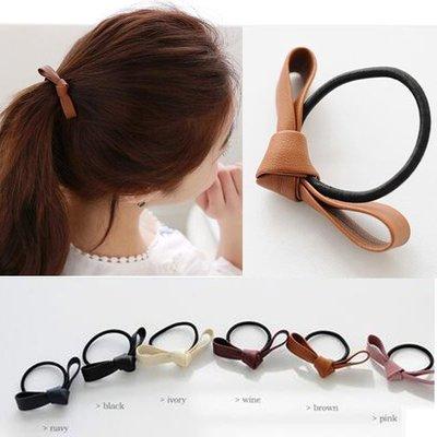 *UOU*韓系氣質皮革蝴蝶結髮繩髮束綁頭髮橡皮筋‧6色/G007