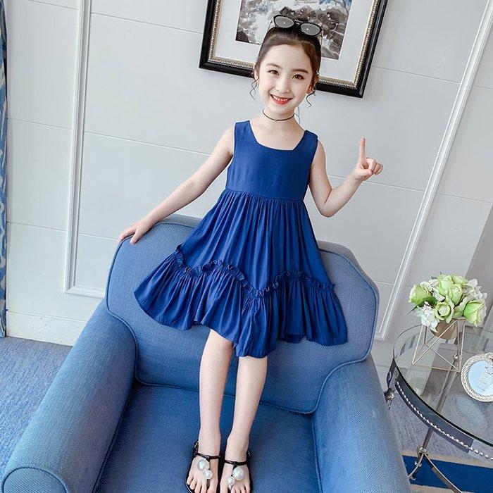 •*~ 辣媽咪衣飾小舖 ~*•❤童裝系列❤K730425韓版大童夏款小女孩公主休閒款洋氣露背洋裝