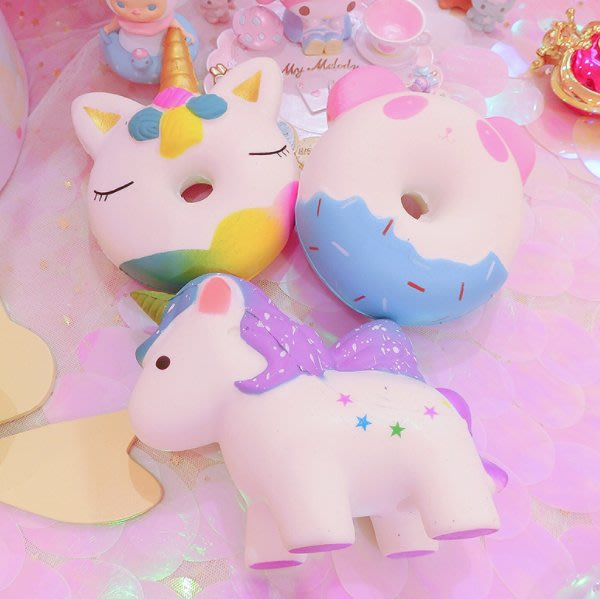 可愛馬卡龍獨角獸熊貓回彈玩具柔軟發泄玩具擺件香味食玩小玩具