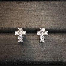 18K白金 鑽石十字耳環 D0.28ct母親節優惠
