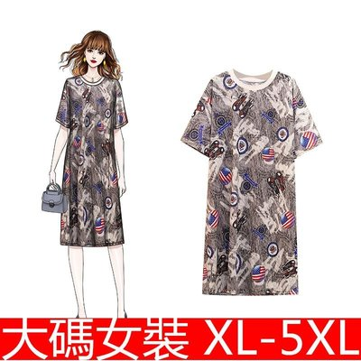 加大寬松顯瘦時尚花色潮牌網紅 大碼女裝 大尺碼洋裝 XL-XL