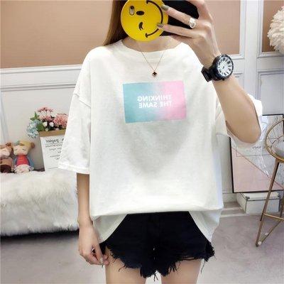 短袖T恤 韓國2019夏裝新款短袖T恤女生ins港風原宿bf寬鬆百搭體恤衫上衣服