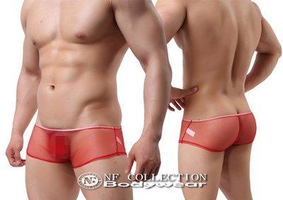 《NANNY_FENG》 男仕性感爆表 私藏必備輕薄柔軟網紗透明網眼平角 4215紅色系