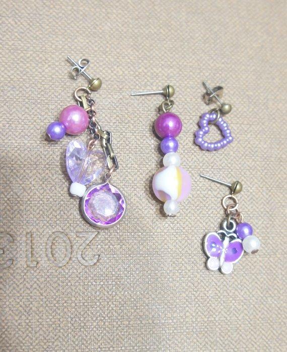 ( 全新 ) 4種不同耳環,紫色系列, (只有附贈兩個耳扣)