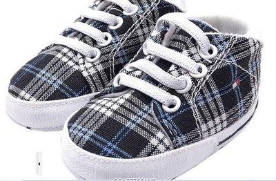 ☆╮小碼 ╭☆  深藍格子寶寶小板鞋 ~鞋內長11cm