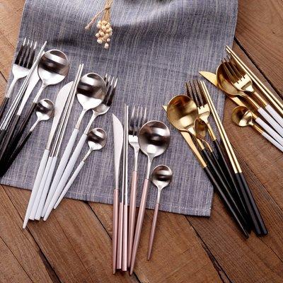 預售款-西餐刀叉勺筷子葡萄牙Leon不銹鋼刀叉套裝甜品勺茶勺西餐餐具#廚房餐具#日式創意#簡約
