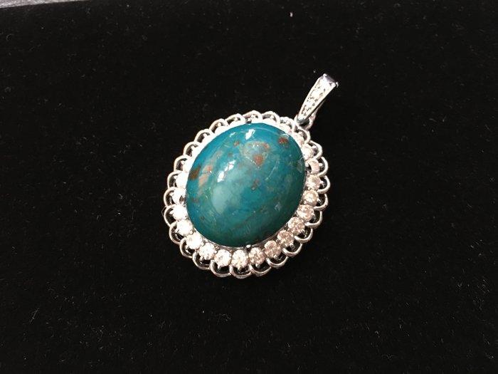 *藏雅軒*天然礦石晶鑽銀白K珠寶飾品-印尼花寶項墜-15.8g