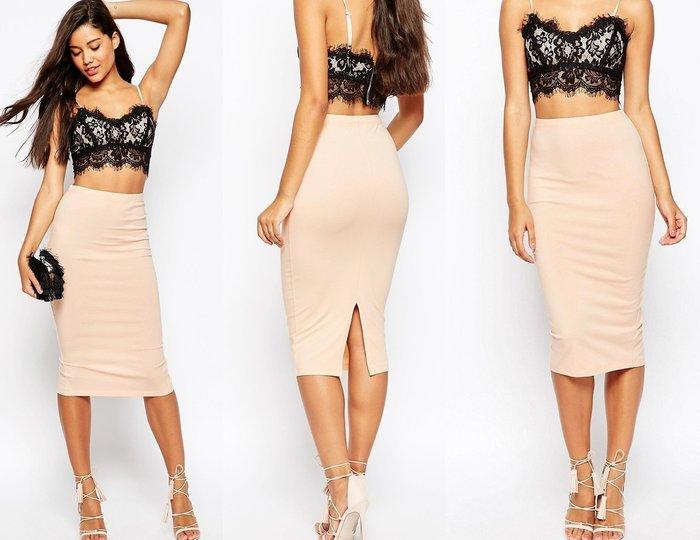 ◎美國代買◎ASOS粉色經典百搭款復古高腰後開叉彈性合身筆型窄裙~歐美街風~大尺碼