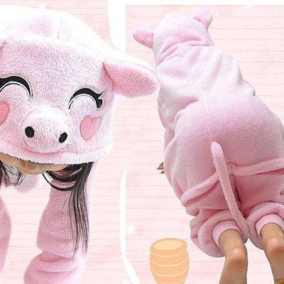 5Cgo【鴿樓】會員有優惠15648041282 秋冬兒童卡通連體睡衣 動物連體家居服 粉色小豬