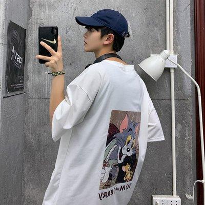 夏季香港oversize原宿潮牌湯姆貓復古寬松cec日系男女情侶短袖T恤