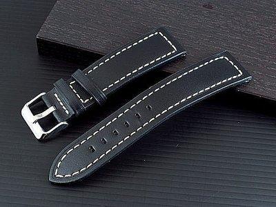 pilot 20mm收18mm可替代hamilton seiko BREITLING原廠錶帶之平面無紋黑色真牛皮軍風錶帶