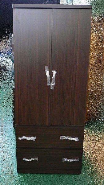 宏品二手家具館 庫存傢俱買賣 R01*全新百合胡桃木衣櫃*2抽屜衣櫥*衣架*斗櫃臥室傢俱
