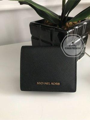 MissHannah B.S ❤️Michael Kors 專櫃款 防刮皮革短夾(黑色)