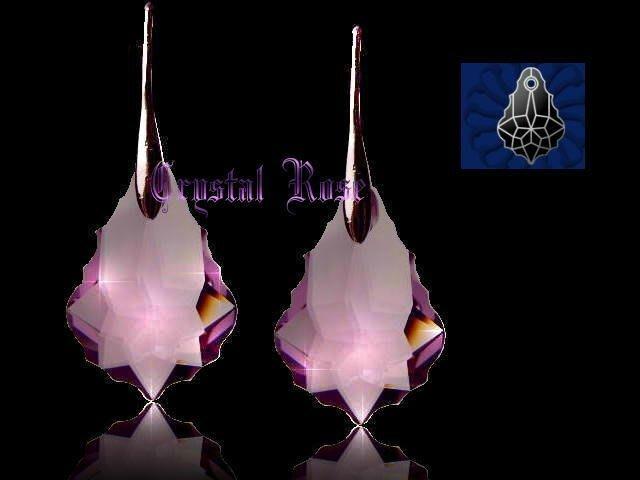 ※水晶玫瑰※ SWAROVSKI 大巴洛克葉水晶吊墜 鍍金耳勾式耳環(DD040)~9色可選