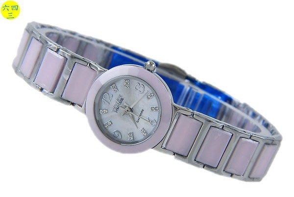 (六四三精品)VENICE(真品)真陶瓷.藍寶石水晶切割玻璃加不銹鋼.高檔精準錶.粉紅女.