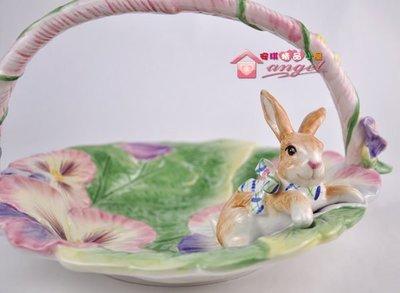 春天花兔子 陶瓷提籃.便利小舖./ 水果籃/ 糖果籃 陶瓷模型