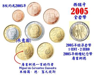【幣】EURO 西班牙2005年 歐元全年組 1 cent ~ 2€ 全新8枚 + 特種紀念幣(唐吉軻德)