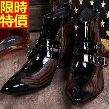 尖頭皮鞋 真皮短靴子-個性雙環扣斑馬紋拼接增高男鞋子65ai46[獨家進口][米蘭精品]