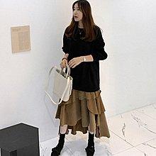 洋裝 韓 不規則漸層長袖假兩件連身裙 艾爾莎【TGK8084】