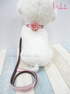 ☆[Hankaro]☆ 寵愛毛小孩粉色花朵皮料狗頸圈牽繩組含盒(共三種尺寸)