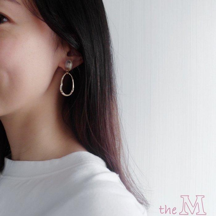 The M 正韓 奶油 琥珀 不規則 圈圈耳環-抗過敏 鋼針