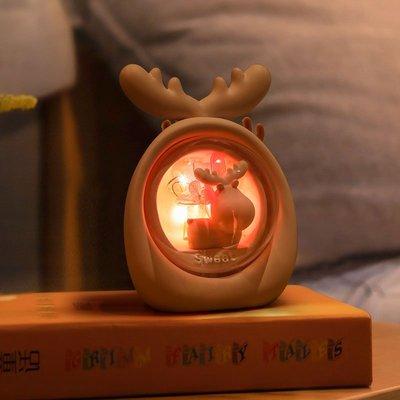 hello小店-創意麋鹿小夜燈ins少女心房間布置網紅裝飾品臥室床頭星星燈臺燈#計時器#鬧鐘#時鐘#