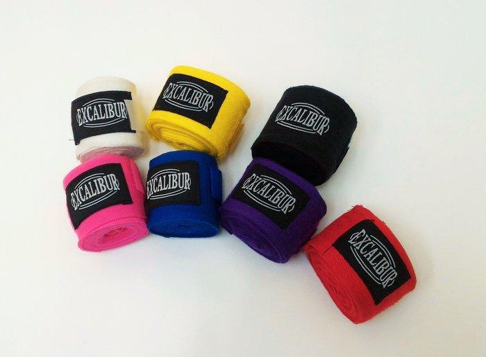 【神拳阿凱】Excalibur 1558 拳擊手綁帶 手繃帶 纏手 300cm 紅/藍/黑/紫/黃/粉/白 一組(免運)