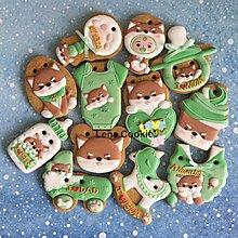 可接急單 收涎餅乾 狗寶貝 綠色系列  男寶12片(送禮盒) 糖霜餅乾 不挑款(Lena Cookie)
