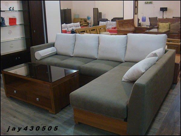 【龍來傢俱】《斯特木製L型布沙發》台灣精製~品質保證