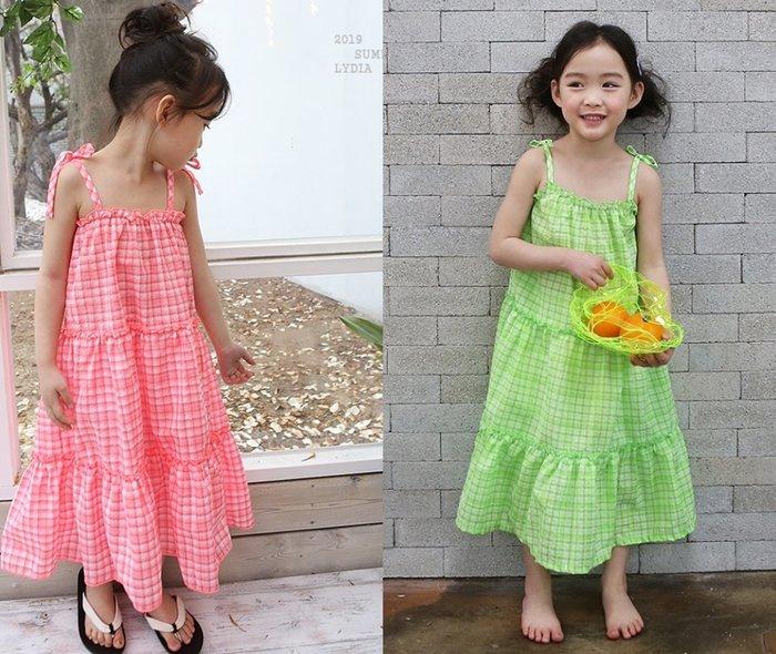 《正韓童裝》2019 新款夏裝 甜美度假風細肩帶格紋綁帶洋裝 (預購優惠+免運)