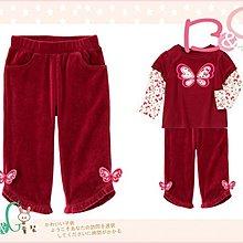 【B& G童裝】正品美國進口GYMBOREE蝴蝶裝飾紅色絨質長褲18-24m,2,4yrs