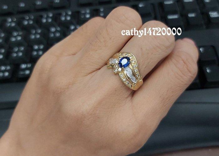 。☆凱希小舖☆。 天然藍寶石/ 鑽石 純k金戒指no.3305
