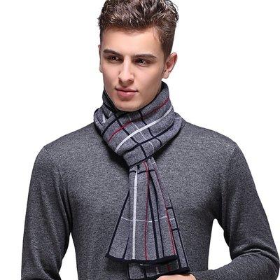 圍巾 羊毛 披肩-時尚英倫格紋針織男配件3色73wh82[獨家進口][米蘭精品]