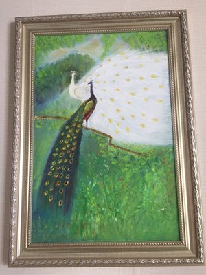 純手工手繪油畫 歐式美式簡約家庭裝飾畫 百烏之王孔雀