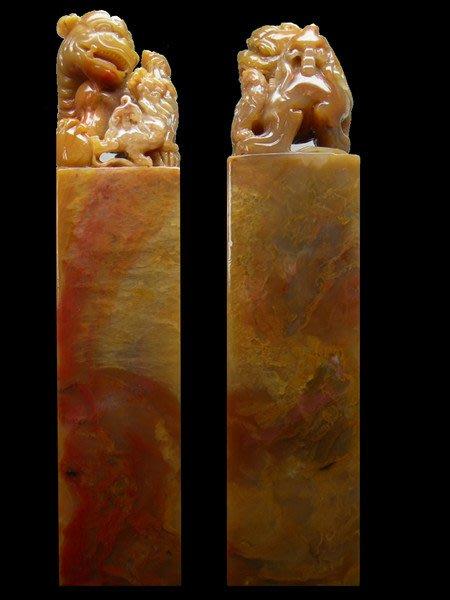 【頑石點頭】五彩巴林结晶凍石 大材古兽方章3193003精品